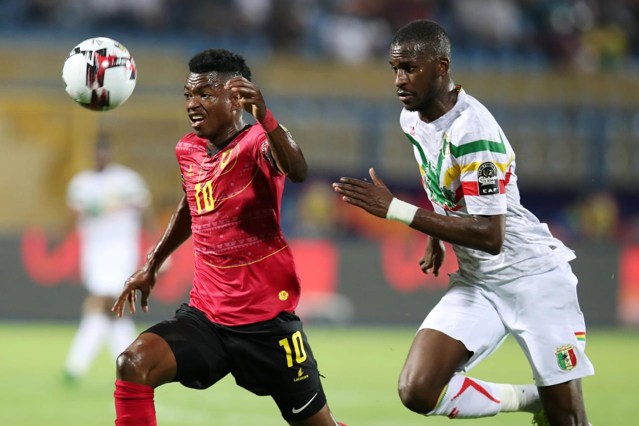 Jacinto Gelson Dala of Angola challenged by Boubacar Kiki Kouyate of Mali during the 2019 Africa Cup of Nations match between Angola and Mali at the Ismailia Stadium, Ismailia on the 02 July 2019 ©Muzi Ntombela/BackpagePix
