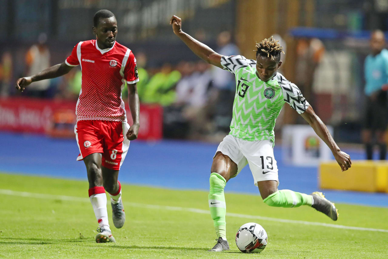 Samuel Chukwueze of Nigeria clears ball from Gael Duhayindavyi of Burundi during the 2019 Africa Cup of Nations Finals match between Nigeria and Burundi at the Alexandria Stadium, Alexandria on the 22 June 2019 ©Muzi Ntombela/BackpagePix