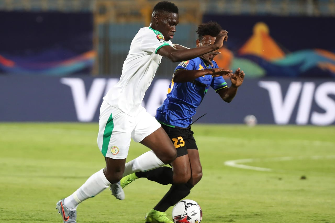 Ismaila Sarr of Senegal challenged by Mudathir Yahya of Tanzania during the 2019 Africa Cup of Nations Finals football match between Senegal and Tanzania at 30 June Stadium, Ciro, Egypt on 23 June 2019 ©Gavin Barker/BackpagePix
