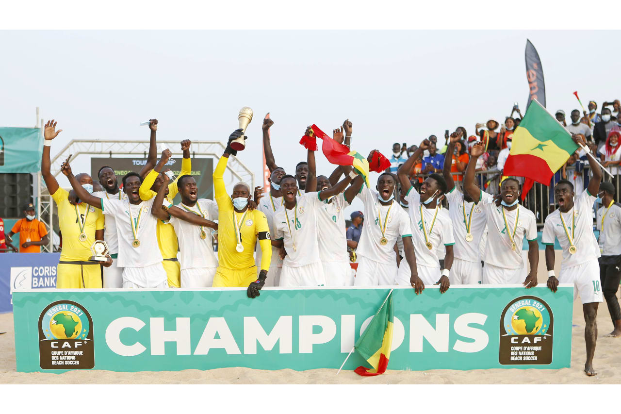 Senegal are crowned champions after victory in the 2021 Beach Soccer African Cup of Nations Final between Senegal and Mozambique in Thies, Saly in Senegal on 29 May 2021 © Alain SuffoBackpagePix