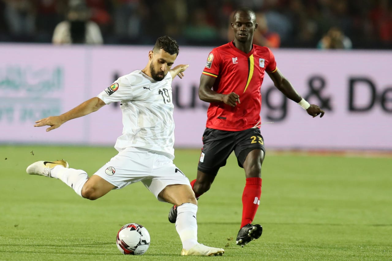 Abdallah El Said of Egypt challenged by Michael Azira of Uganda during the 2019 Africa Cup of Nations Finals Uganda and Egypt at Cairo International Stadium, Cairo, Egypt on 30 June 2019 ©Samuel Shivambu/BackpagePix