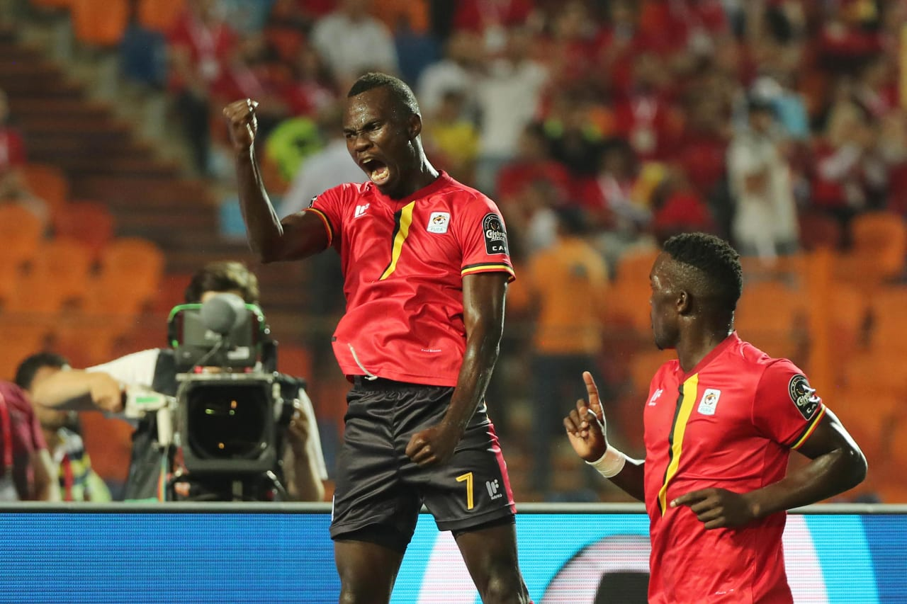 Emmanuel Okwi of Uganda (l) celebrates goal as teammate Khalid Aucho looks on during the 2019 Africa Cup of Nations Finals football match between Uganda and Zimbabwe at the Cairo International Stadium, Cairo, Egypt on 26 June 2019 ©Gavin Barker/BackpagePix