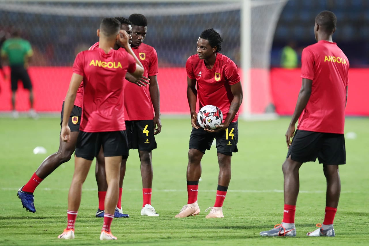 Angola team warming up during the 2019 Africa Cup of Nations match between Angola and Mali at the Ismailia Stadium, Ismailia on the 02 July 2019 ©Muzi Ntombela/BackpagePix