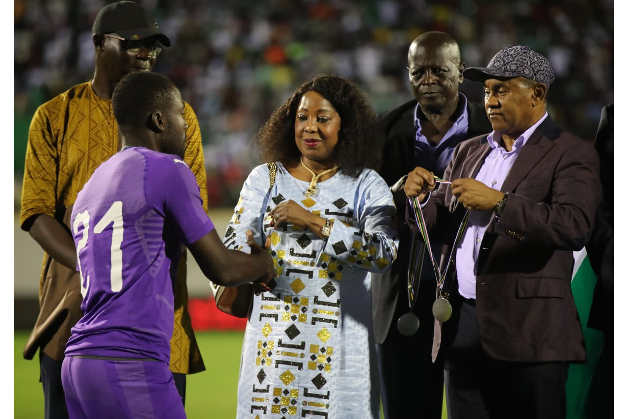 CAF President Ahmad, Secretary General of FIFA Fatma Samoura handover the medals to Match officialsGhana players receive medals during the 2019 WAFU Cup of Nations final match between Ghana and Senegal at Stade Lat Dior, Thies, Senegal, on 13 October 2019
