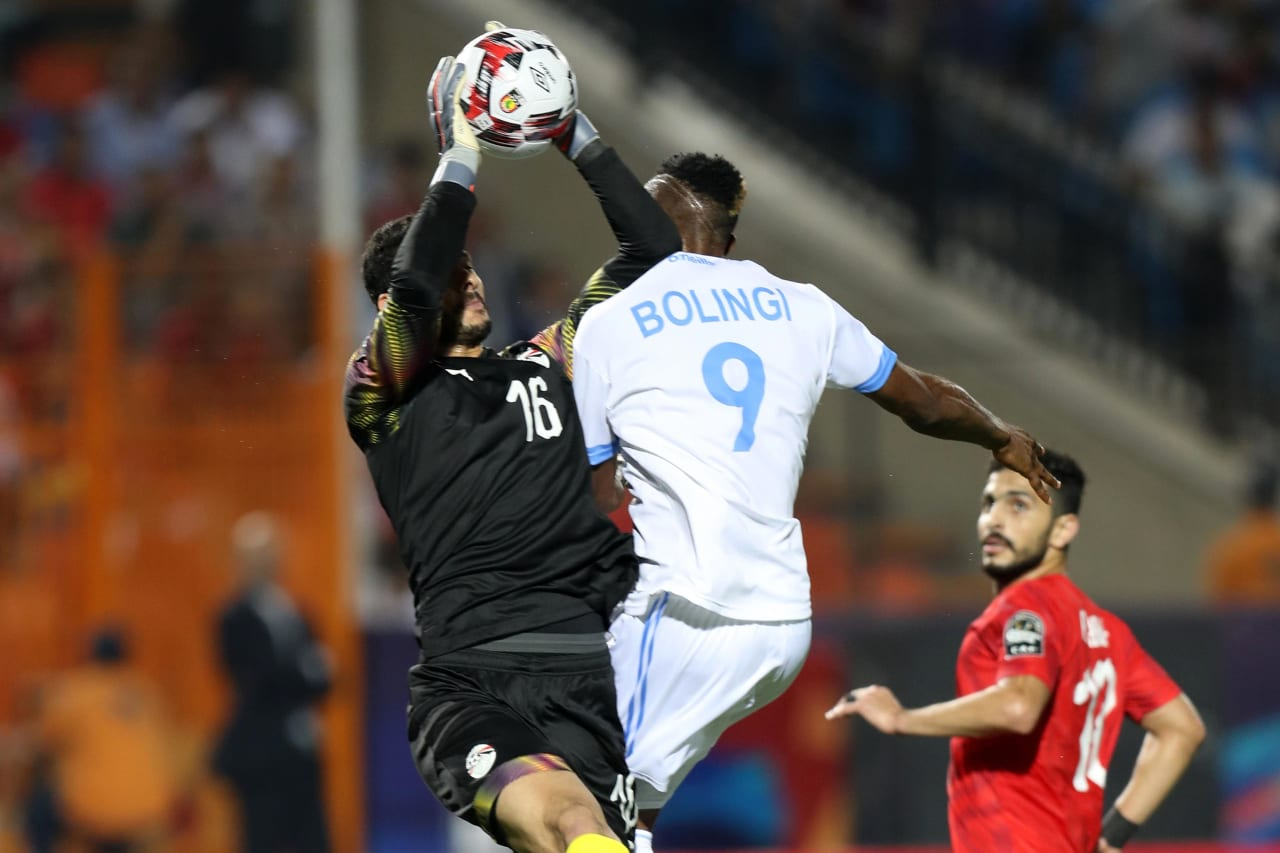 Mohamed El Shenawy of Egypt challenged by Jonathan Bolingi of DR Congo during the 2019 Africa Cup of Nations Finals match between Egypt and Dr Congo at Cairo International Stadium, Cairo, Egypt on 26 June 2019 ©Samuel Shivambu/BackpagePix