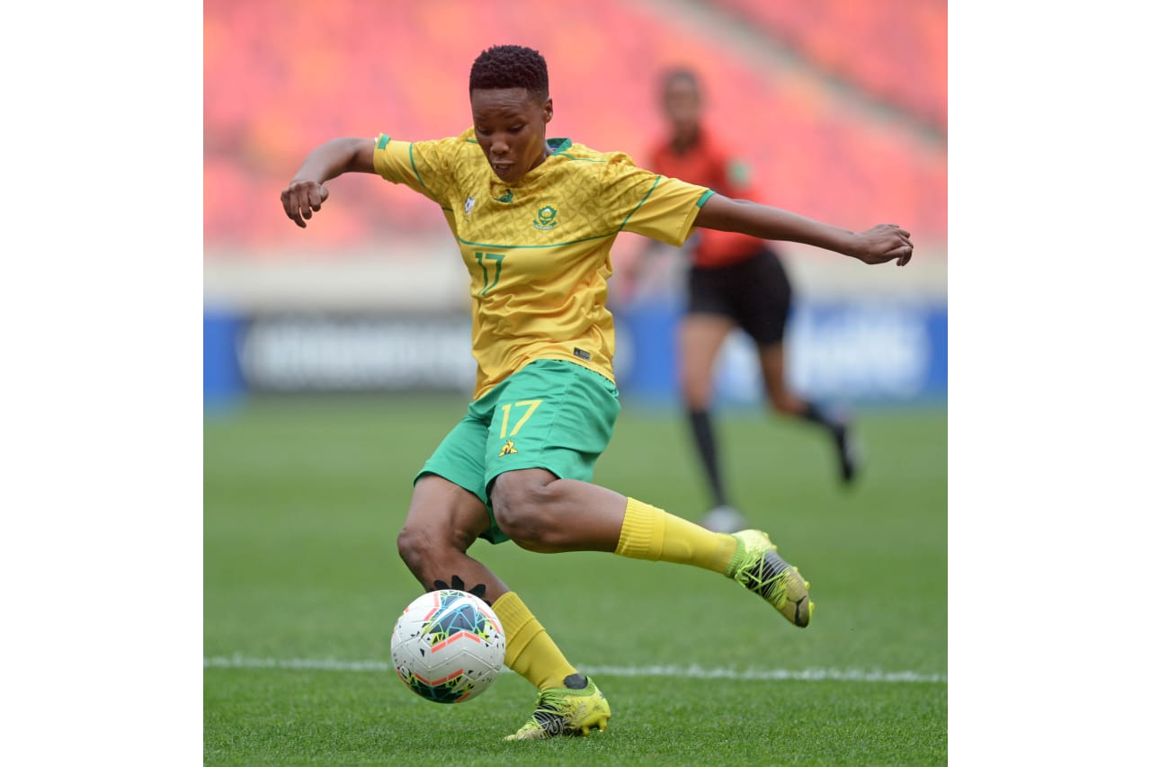 Melinda Kgadiete of South Africa during the 2021 COSAFA Womens Championship semifinal game between South Africa and Malawi at Nelson Mandela Bay Stadium in Gqeberha on 7 October 2021 ©Ryan WilkiskyBackpagePix