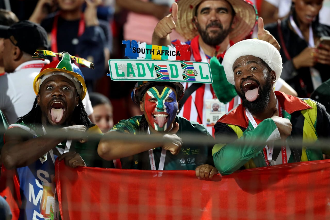 South Africa fans  during the 2019 Africa Cup of Nations Finals last 16 match between Egypt and South Africa at Cairo International Stadium, Cairo, Egypt on 06 July 2019 ©Samuel Shivambu/BackpagePix
