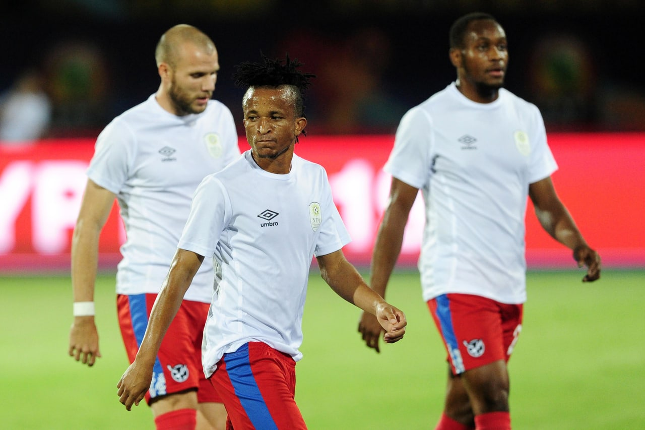 Namibia players leave the pitch after their warm up before the 2019 Africa Cup of Nations Finals match between South Africa and Namibia at Al Salam Stadium in Cairo, Egypt on 28 June 2019 © Ryan Wilkisky/BackpagePix