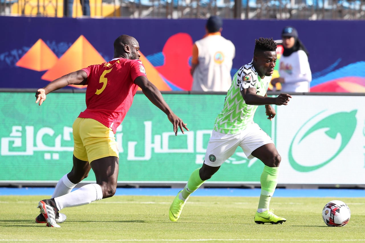 Moses Simon of Nigeria challenged by Ernest Seka Boka of Guinea during the 2019 Africa Cup of Nations match between Nigeria and Guinea at the Alexandria Stadium, Alexandria on the 26 June 2019 ©Muzi Ntombela/BackpagePix