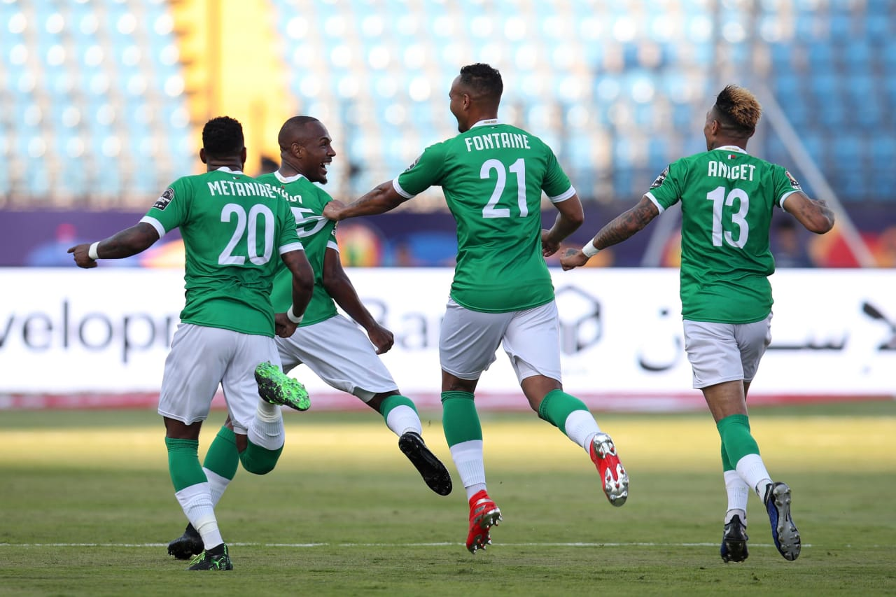 Ibrahim Samuel Amada of Madagascar celebrates goal with teammates during the 2019 Africa Cup of Nations Last 16 match between Madagascar and DR Congo at the Alexandria Stadium, Alexandria on the 07 July 2019 ©Muzi Ntombela/BackpagePix