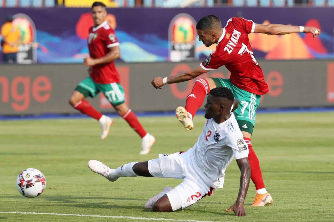 Hakim Ziyech of Morocco challenged by Denzil Haoseb of Namibia during the 2019 Africa Cup of Nations Finals match between Morocco and Namibia at Training at Al-Salaam Stadium, Cairo, Egypt on 23 June 2019 ©Samuel Shivambu/BackpagePix
