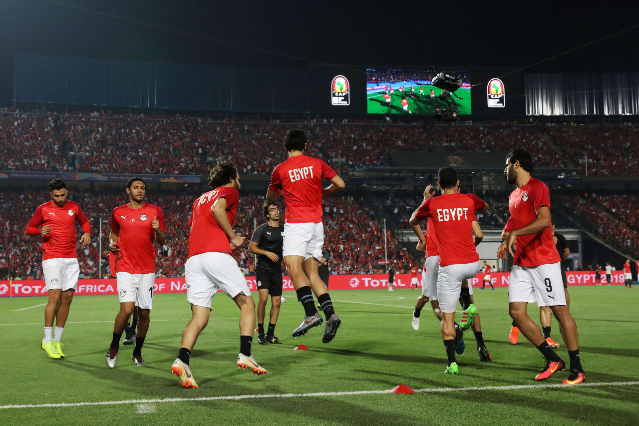 Egypt players warm up during the 2019 Africa Cup of Nations Finals Last 16 football match between Egypt and South Africa at the Cairo International Stadium, Cairo, Egypt on 06 July 2019 ©Gavin Barker/BackpagePix