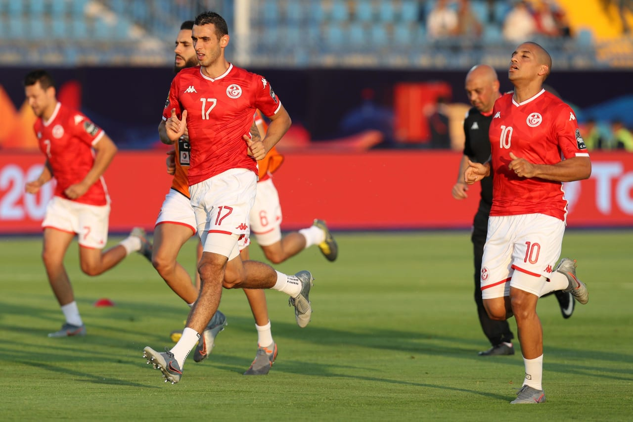 Ellyes Joris Skhiri of Tunisia leads a warm up during the 2019 Africa Cup of Nations Finals football match between Tunisia and Angola at Suez Army Stadium, Suez, Egypt on 24 June 2019 ©Samuel Shivambu/BackpagePix