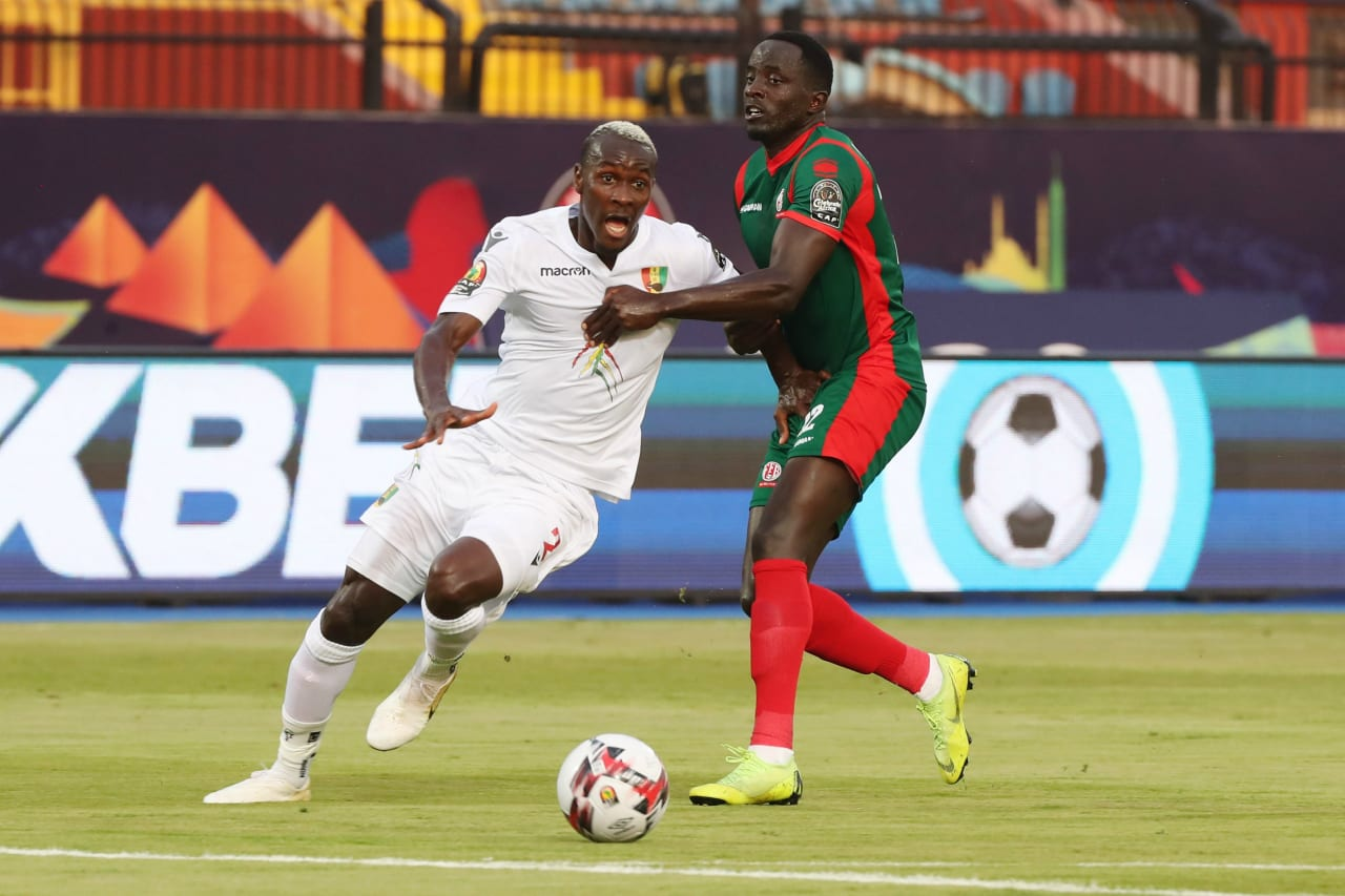Nduwarugira Christophe of Burundi pulls back Mohamed Yattara of Guinea and is sent off during the 2019 Africa Cup of Nations Finals football match between Burundi and Guinea at the Al Salam Stadium, Cairo, Egypt on 28 June 2019 ©Gavin Barker/BackpagePix