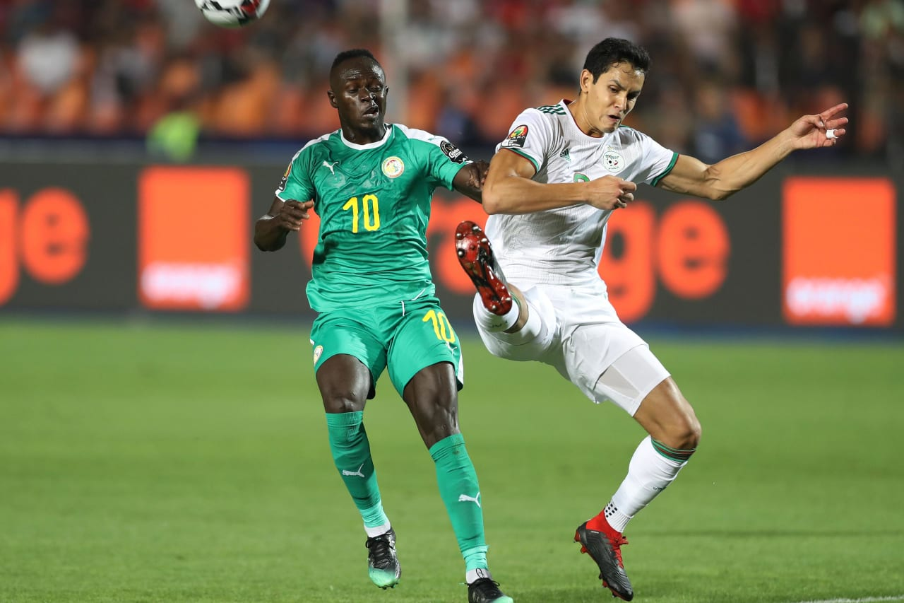 Sadio Mane of Senegal challenged by Aissa Mandi of Algeria during the 2019 Africa Cup of Nations Finals, Final match between Senegal and Algeria at Cairo International Stadium, Cairo, Egypt on 19 July 2019 ©Samuel Shivambu/BackpagePix