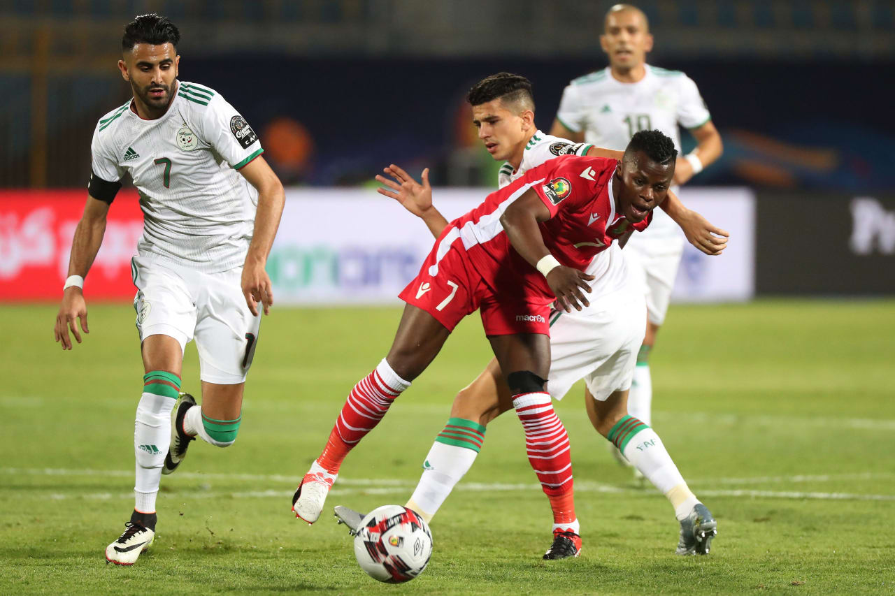 Youcef Atal of Algeria tackles Masika Ayub of Kenya during the 2019 Africa Cup of Nations Finals football match between Algeria and Kenya at 30 June Stadium, Cairo, Egypt on 23 June 2019 ©Gavin Barker/BackpagePix