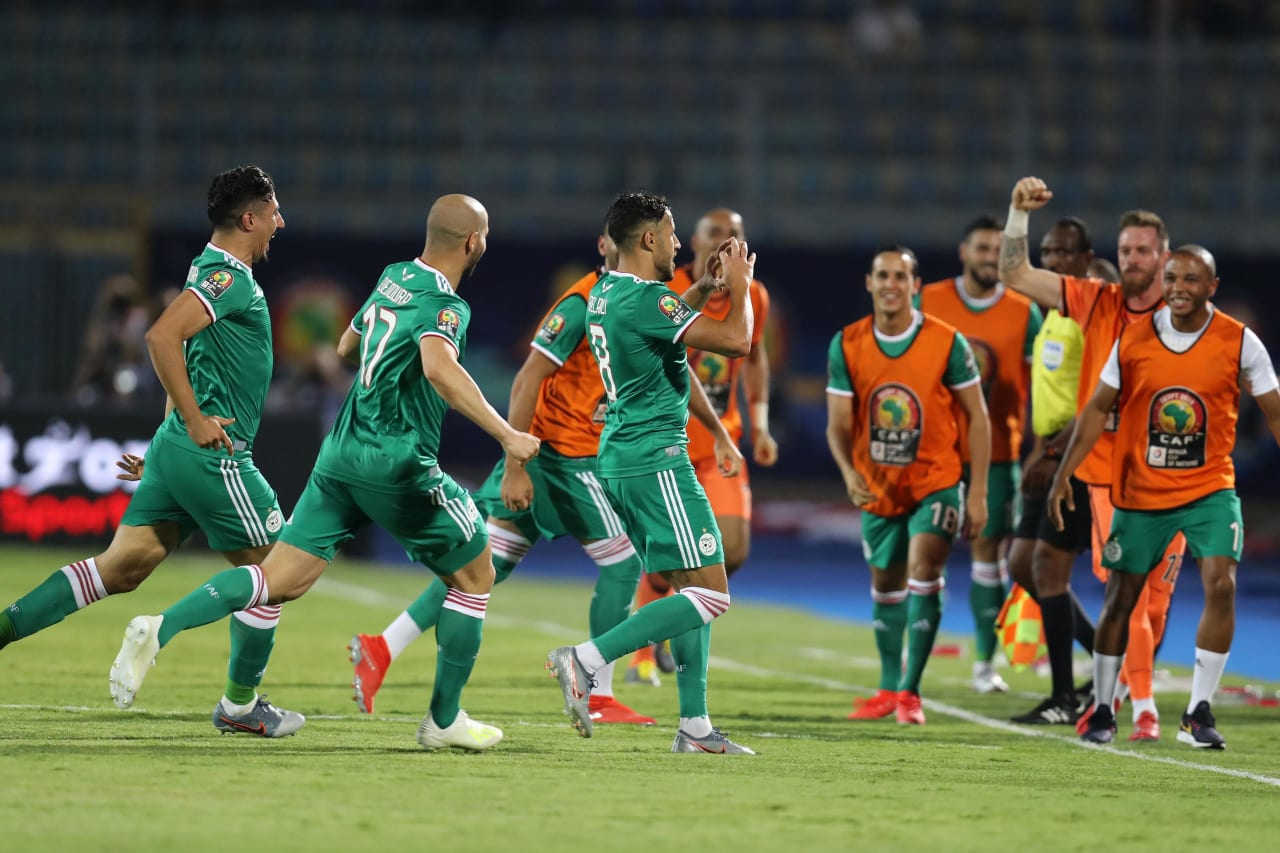 Mohamed Belaili of Algeria celebrates goal with teammates during the 2019 Africa Cup of Nations Finals match between Senegal and Algeria at 30 June Stadium, Cairo, Egypt on 27 June 2019 ©Samuel Shivambu/BackpagePix