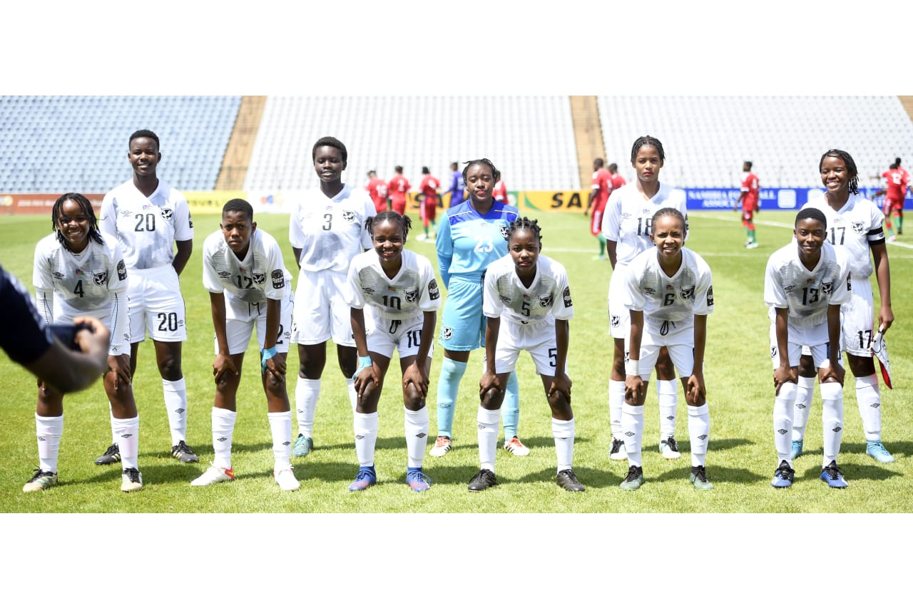 Namibia U20 Team Picture during the 2022 African Qualifiers FIFA U20 Womens World Cup match between Namibia and Burundi on the 08 October 2021 at Dobsonville Stadium, Pic Sydney MahlanguBackpagePix