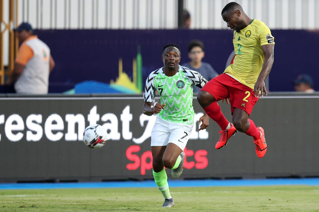 Ngoran Collins Fai of Cameroon challenged by Ahmed Musa of Nigeria during the 2019 Africa Cup of Nations Last 16 match between Nigeria and Cameroon at the Alexandria Stadium, Alexandria on the 06 July 2019 ©Muzi Ntombela/BackpagePix