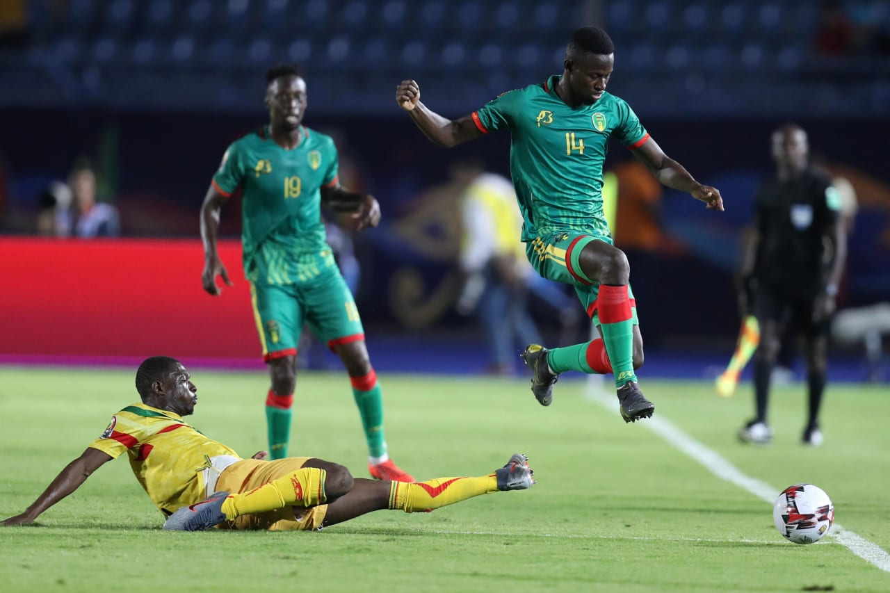 Mohamed Yali Dellahi (r) of Mauritania during the 2019 Africa Cup of Nations Finals football match between Mali and Mauritania at Suez Army Stadium, Suez, Egypt on 24 June 2019 ©Samuel Shivambu/BackpagePix