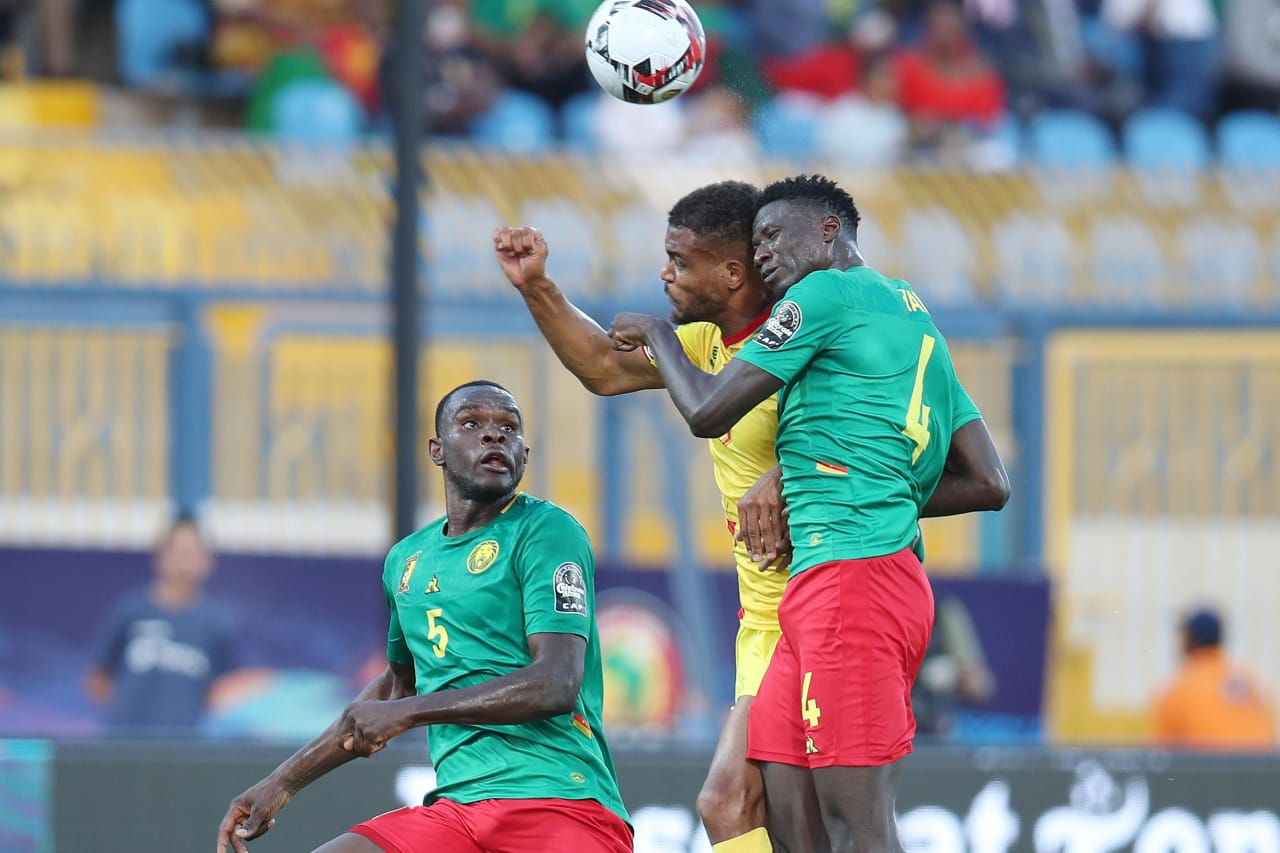 Steve Mounie of Benin challenged by Yaya Banana and Michael Ngadeu Ngadjui of Cameroon during the 2019 Africa Cup of Nations match between Benin and Cameroon at the Ismailia Stadium, Ismailia on the 02 July 2019 ©Muzi Ntombela/BackpagePix