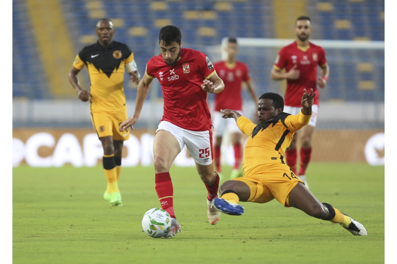 Willard Katsande of Kaizer Chiefs tackles Akram Tawfik of Al Ahly during the 2021 CAF Champions League Final between Kaizer Chiefs and Al Ahly at the Mohamed V Stadium in Casablanca, Morocco on 17 July 2021 ©Fare