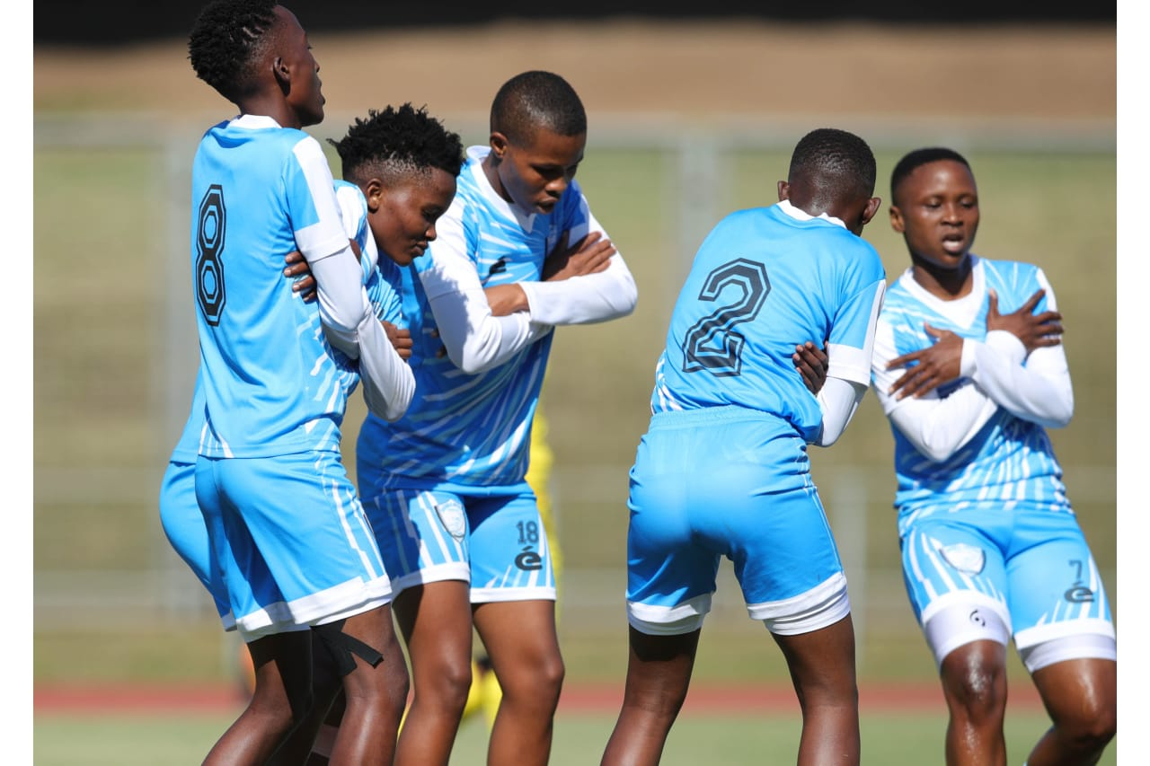 Lesego Duduetsang Radiakanyo Double Action Ladies celebrates goal with teammates during the Total Energies CAF Womens Champions League COSAFA Qualifier match between Lesotho DF and Double Action Ladies at Chatswo