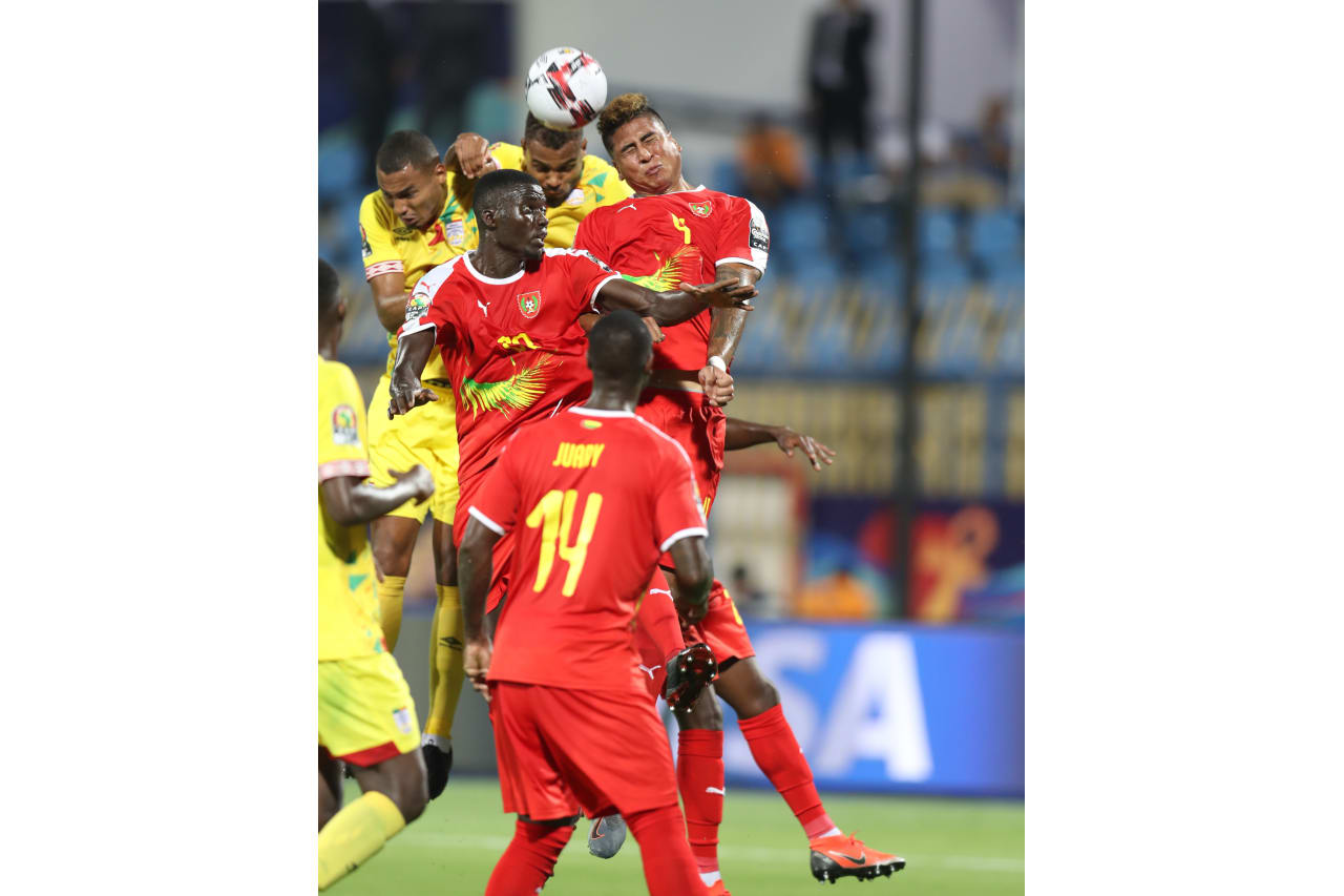 Marcelo Djalo of Guinea-Bissau challenged by Steve Mounie of Benin during the 2019 Africa Cup of Nations Finals Benin and Guinea-Bissau at Ismailia Stadium, Ismailia, Egypt on 29 June 2019