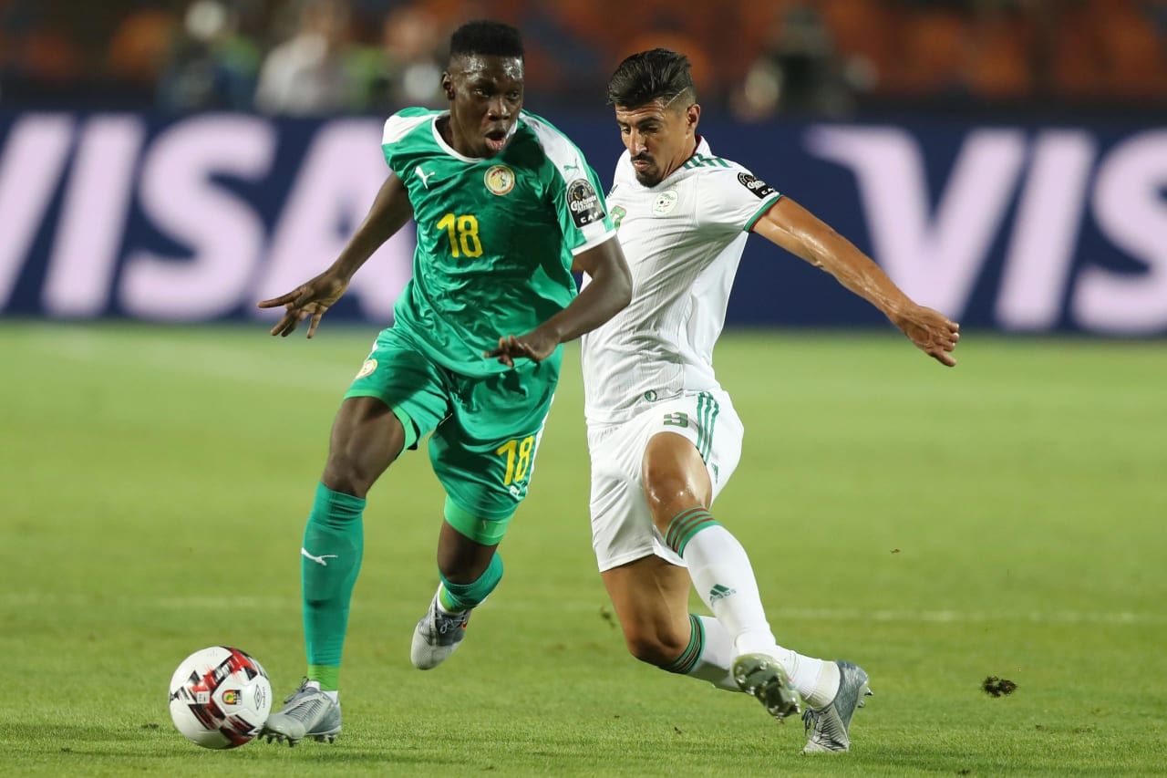 Ismaila Sarr of Senegal challenged by Baghdad Bounedjah of Algeria during the 2019 Africa Cup of Nations Finals, Final match between Senegal and Algeria at Cairo International Stadium, Cairo, Egypt on 19 July 2019 ©Samuel Shivambu/BackpagePix