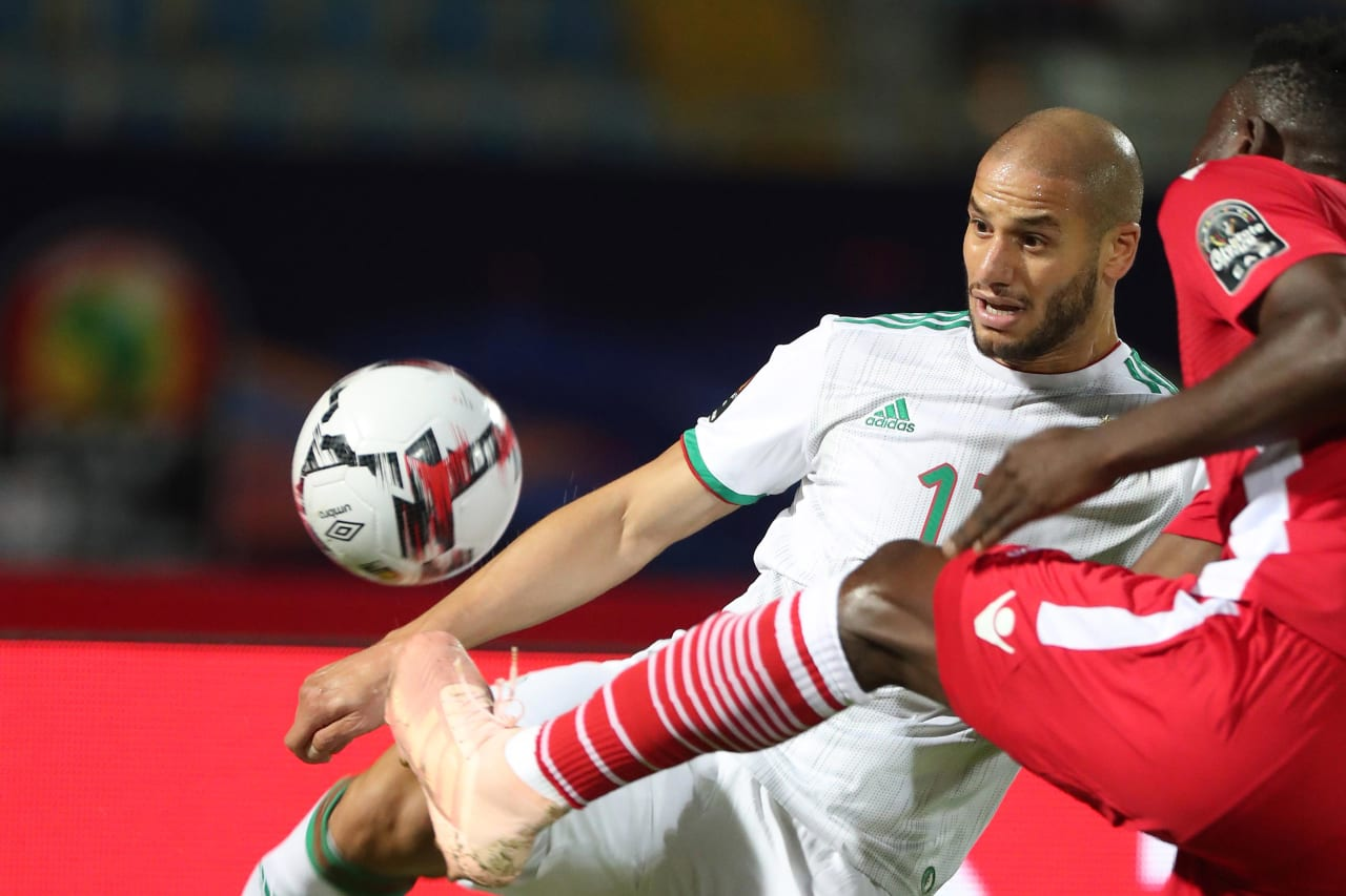 Adlane Guedioura of Algeria clears ball away during the 2019 Africa Cup of Nations Finals football match between Algeria and Kenya at 30 June Stadium, Cairo, Egypt on 23 June 2019 ©Gavin Barker/BackpagePix