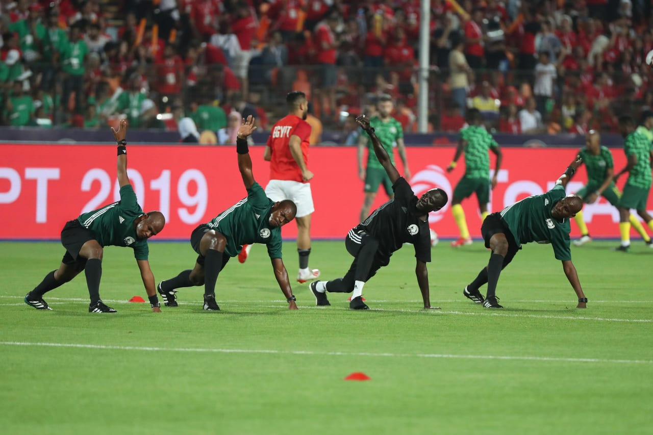 Match Officials warm up  during the 2019 Africa Cup of Nations Finals Last 16 football match between Egypt and South Africa at the Cairo International Stadium, Cairo, Egypt on 06 July 2019 ©Gavin Barker/BackpagePix