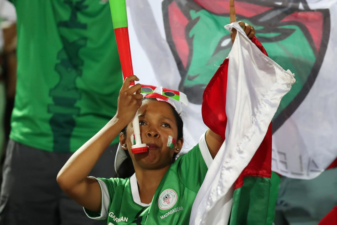 Madagascar fans during the 2019 Africa Cup of Nations Quarterfinals match between Madagascar and Tunisia at the Al Salam Stadium, Cairo on the 10 July 2019 ©Muzi Ntombela/BackpagePix