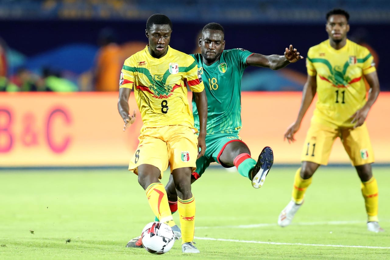 Diadié Samassékou of Mali challenged by El Hacen El Id of Mauritania during the 2019 Africa Cup of Nations Finals football match between Mali and Mauritania at Suez Army Stadium, Suez, Egypt on 24 June 2019 ©Samuel Shivambu/BackpagePix