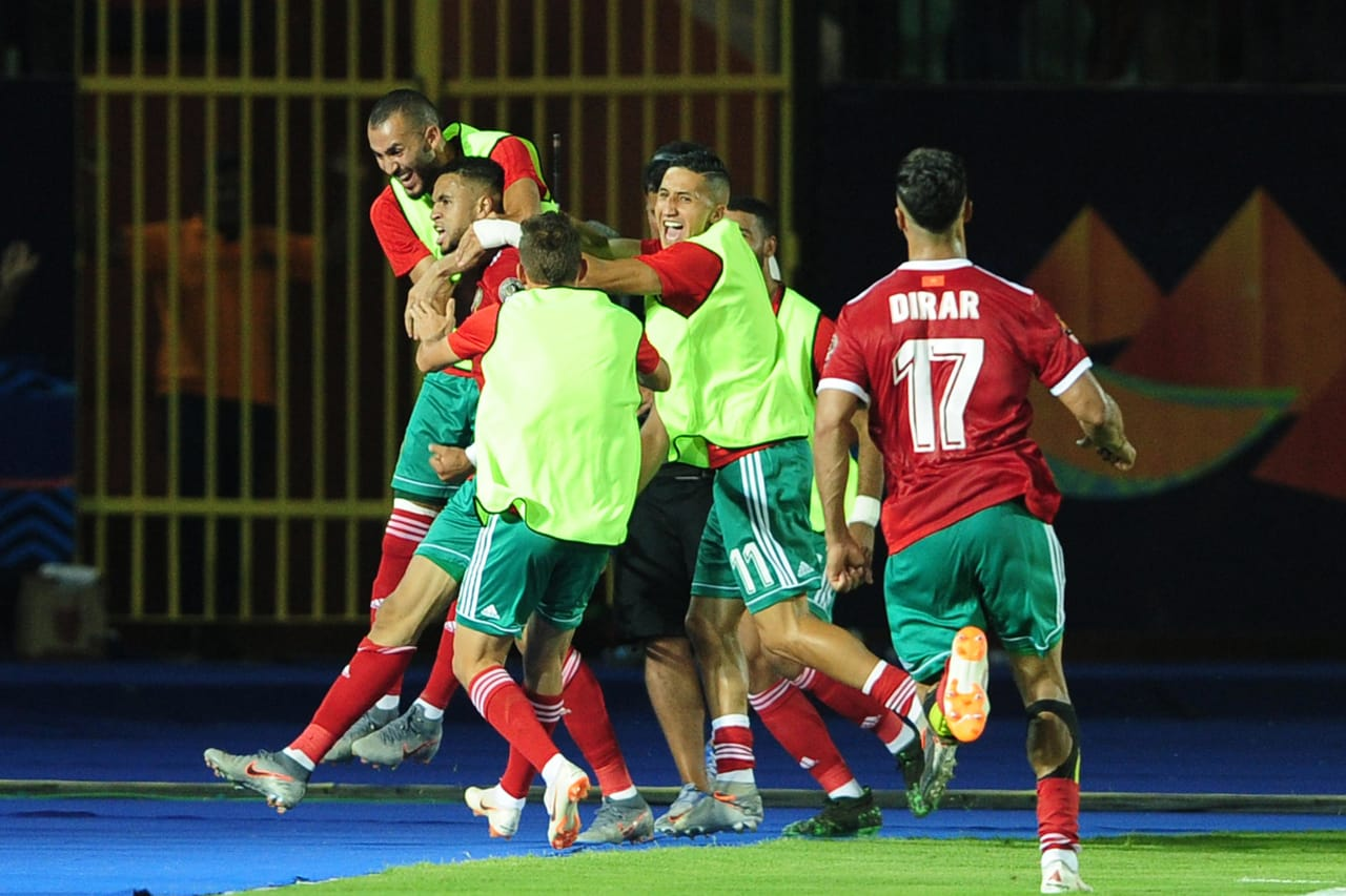 Morocco players celebrate a goal scored by Youssef En-Nesyri of Morocco during the 2019 Africa Cup of Nations Finals last 16 match between Morocco and Benin at the Al Salam Stadium in Cairo, Egypt on 05 July 2019 © Ryan Wilkisky/BackpagePix