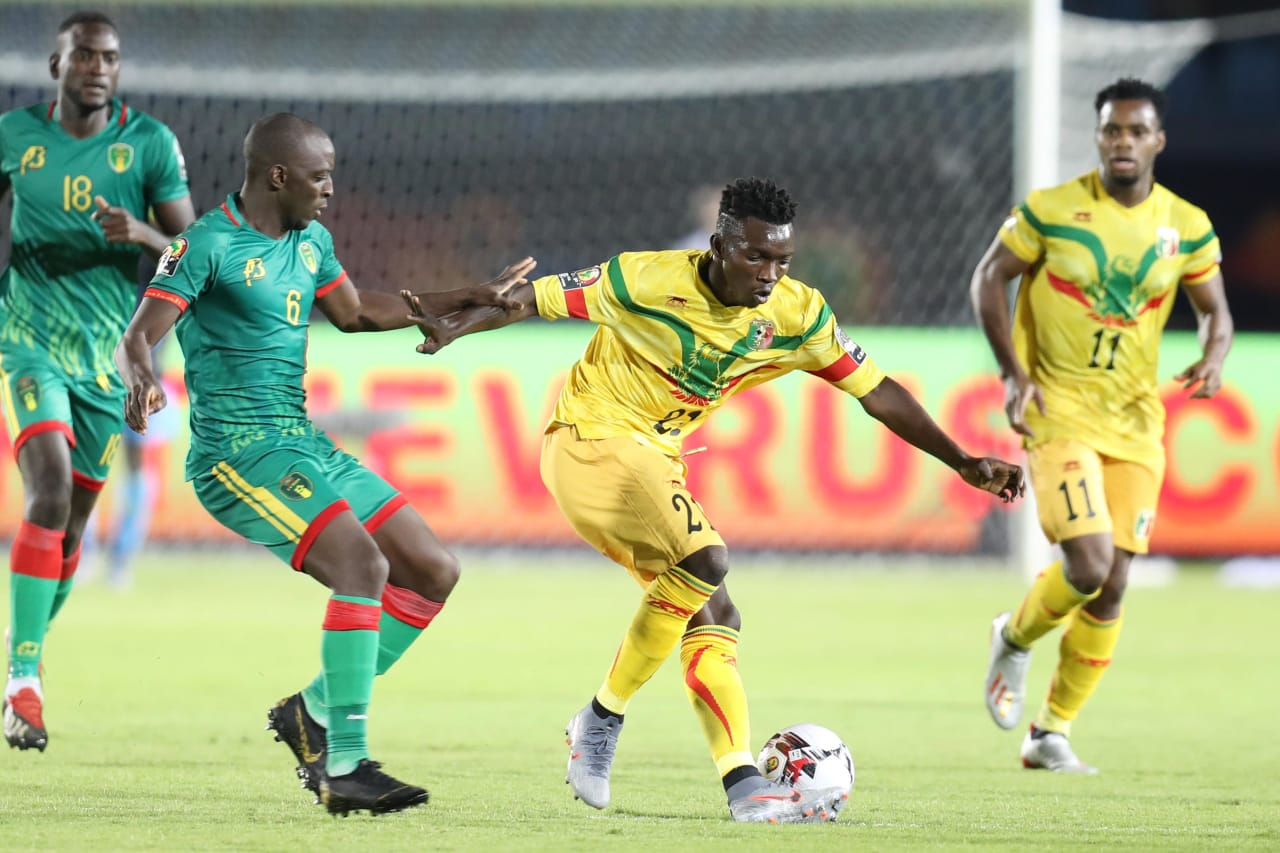 Adama Traore Noss of Mali challenged by Khassa Camara of Mauritania during the 2019 Africa Cup of Nations Finals football match between Mali and Mauritania at Suez Army Stadium, Suez, Egypt on 24 June 2019 ©Samuel Shivambu/BackpagePix