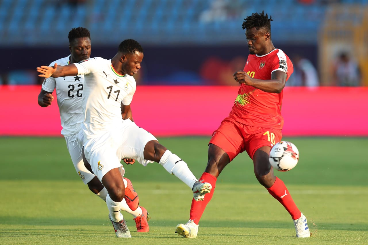Mubarak Wakaso of Ghana tackles Judilson Pele Gomes of Guinea-Bissau during the 2019 Africa Cup of Nations Finals football match between Guinea Bissau and Ghana at the Suez Stadium, Suez, Egypt on 02 July 2019 ©Gavin Barker/BackpagePix