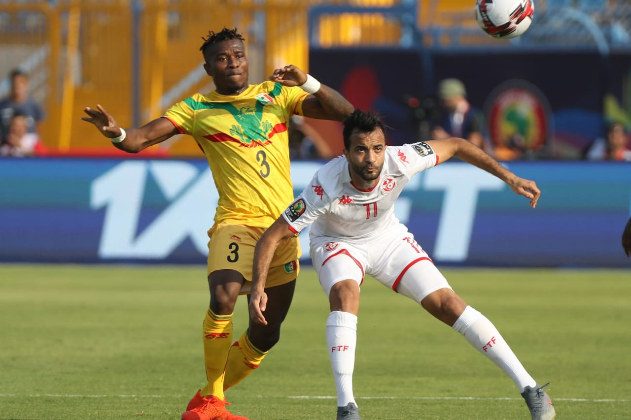 Ellyes Joris Skhiri of Tunisia challenged by Youssou Kone of Mali during the 2019 Africa Cup of Nations Finals match between Tunisia and Mali at Suez Stadium, Suez, Egypt on 28 June 2019 ©Samuel Shivambu/BackpagePix