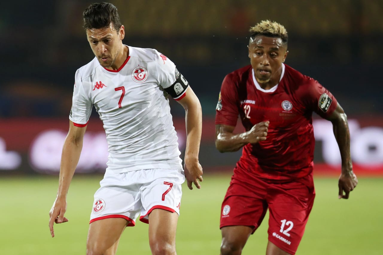 Youssef Msakni of Tunisia challenged by Lalaina Henintsoa Enjanahary of Madagascar during the 2019 Africa Cup of Nations Quarterfinals match between Madagascar and Tunisia at the Al Salam Stadium, Cairo on the 10 July 2019 ©Muzi Ntombela/BackpagePix