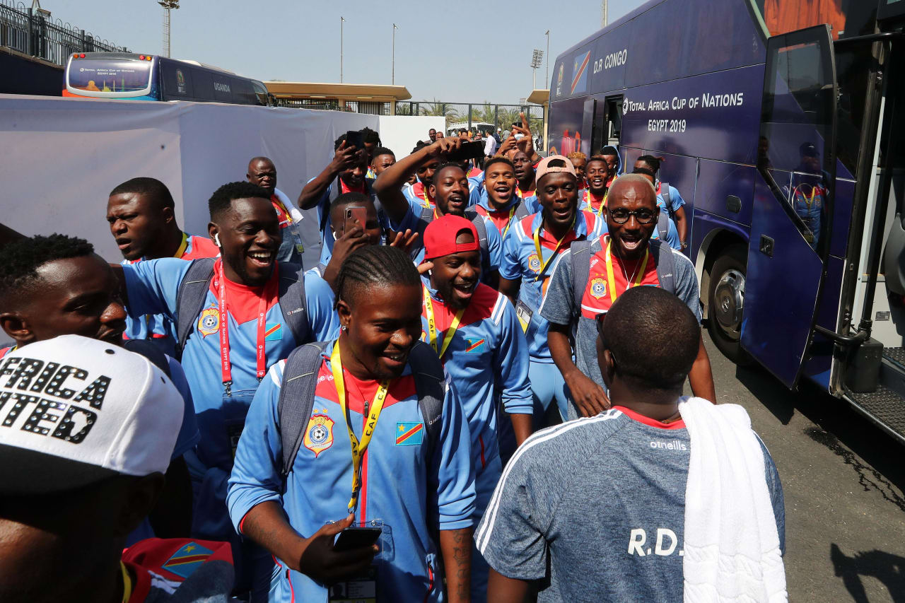 DR Congo team arrival during the 2019 Africa Cup of Nations Finals football match between DR Congo and Uganda  at the Cairo International Stadium, Cairo, Egypt on 22 June 2019 ©BackpagePix