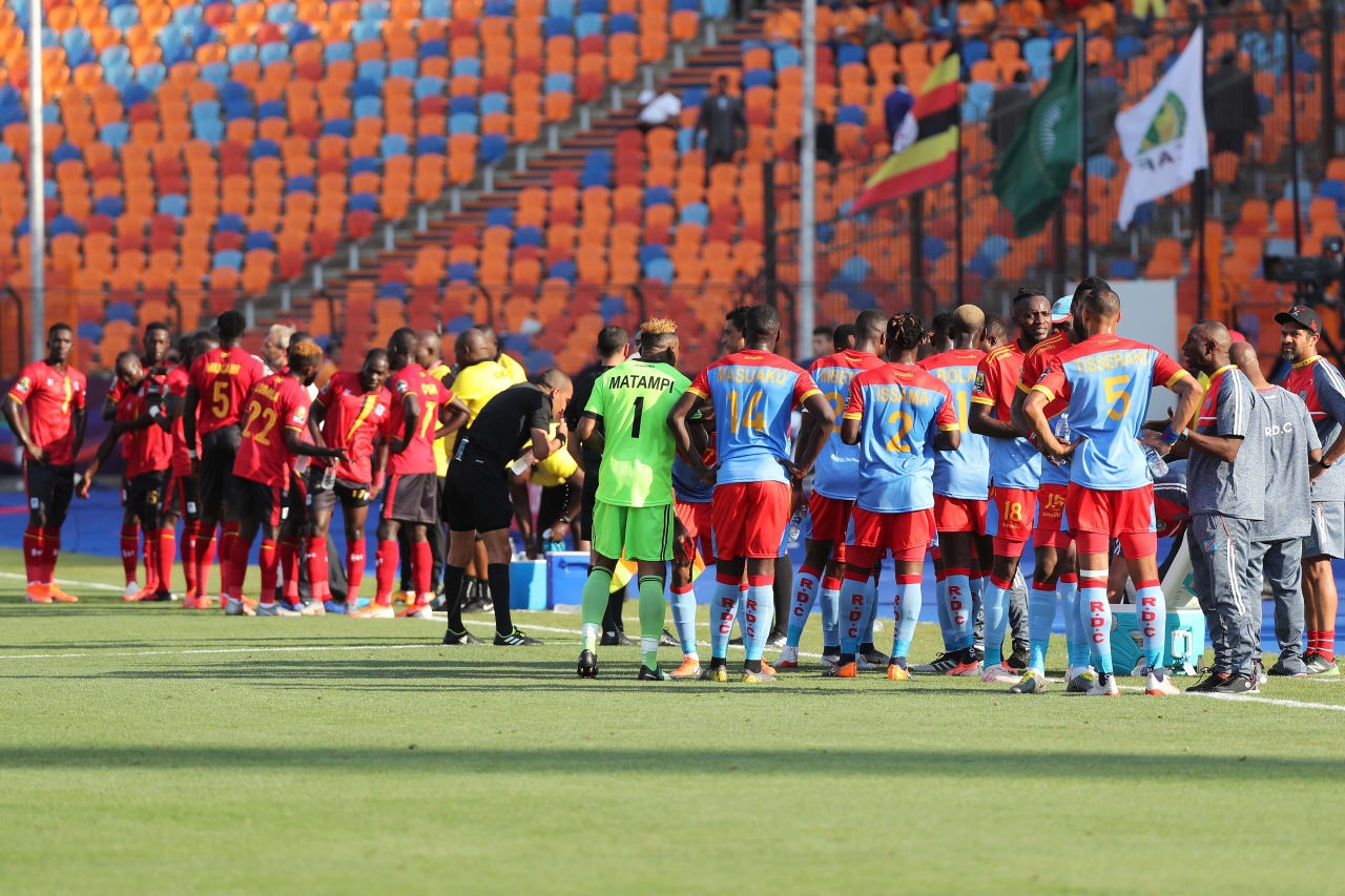 Team take water break during the 2019 Africa Cup of Nations Finals football match between DR Congo and Uganda  at the Cairo International Stadium, Cairo, Egypt on 22 June 2019 ©Gavin Barker/BackpagePix
