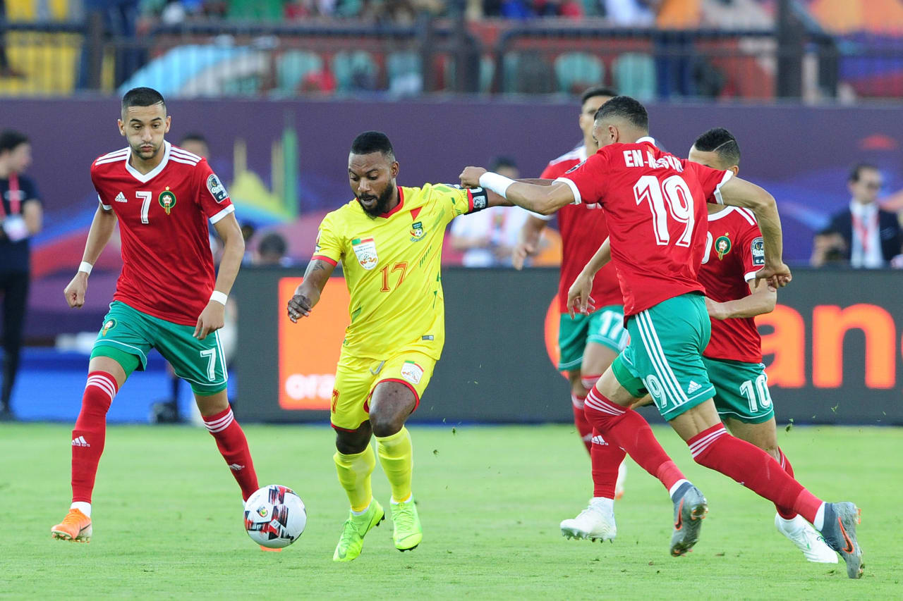 Stephane Sessegnon of Benin is closed down by Youssef En-Nesyri of Morocco during the 2019 Africa Cup of Nations Finals last 16 match between Morocco and Benin at the Al Salam Stadium in Cairo, Egypt on 05 July 2019 © Ryan Wilkisky/BackpagePix