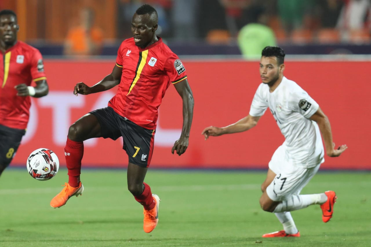 Emmanuel Okwi of Uganda challenged by Nabil Emad of Egypt during the 2019 Africa Cup of Nations Finals Uganda and Egypt at Cairo International Stadium, Cairo, Egypt on 30 June 2019 ©Samuel Shivambu/BackpagePix