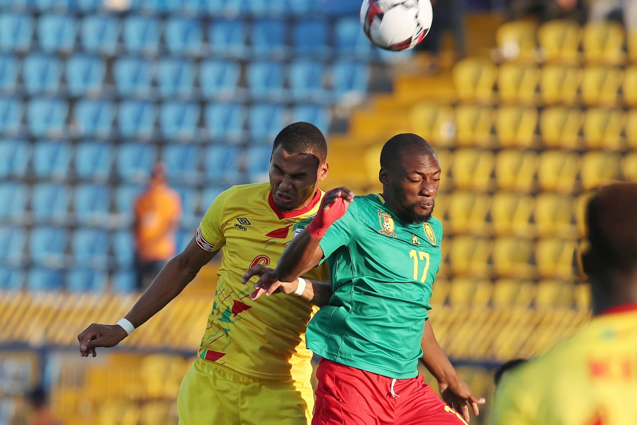 Karl Toko Ekambi of Cameroon challenged by Olivier Verdon of Benin during the 2019 Africa Cup of Nations match between Benin and Cameroon at the Ismailia Stadium, Ismailia on the 02 July 2019 ©Muzi Ntombela/BackpagePix