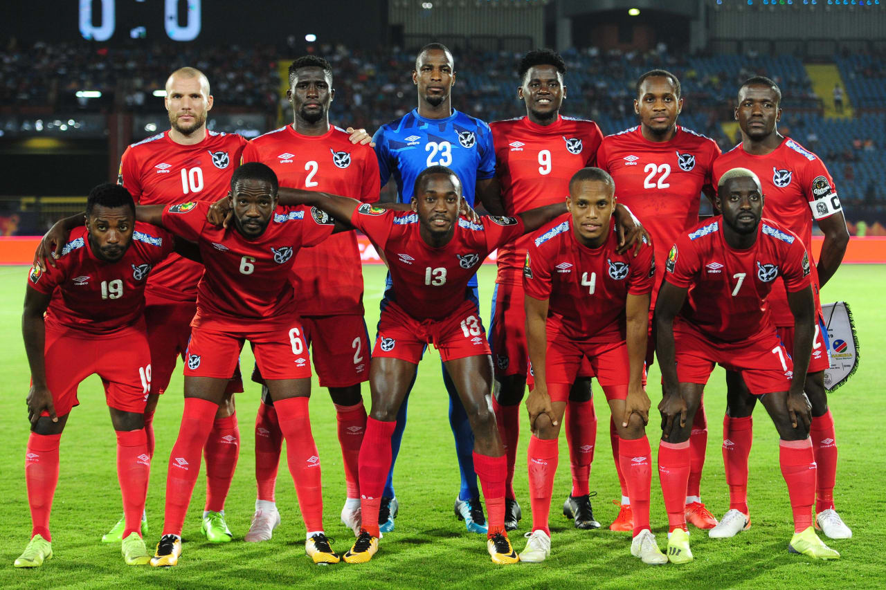 Namibia team picture (back row l-r) Manfred Starke, Willem Mwedihanga, Lloyd Kazapua, Benson Shilongo, Ryan Nyambe, Ronald Ketjijere (front row l=r_ Petrus Shitembi, Larry Horaeb, Peter Shalulile, Chris Katjiukua, Deon Hotto during the 2019 Africa Cup of Nations Finals match between South Africa and Namibia at Al Salam Stadium in Cairo, Egypt on 28 June 2019 © Ryan Wilkisky/BackpagePix