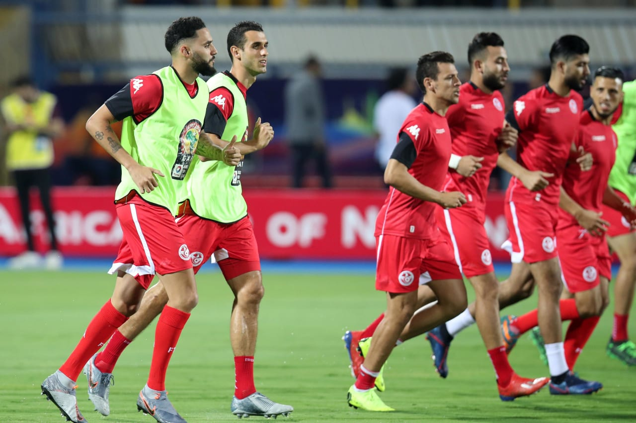 Tunisia team warming up during the 2019 Africa Cup of Nations Last 16 match between Ghana and Tunisia at the Ismailia Stadium, Ismailia on the 08 July 2019 ©Muzi Ntombela/BackpagePix