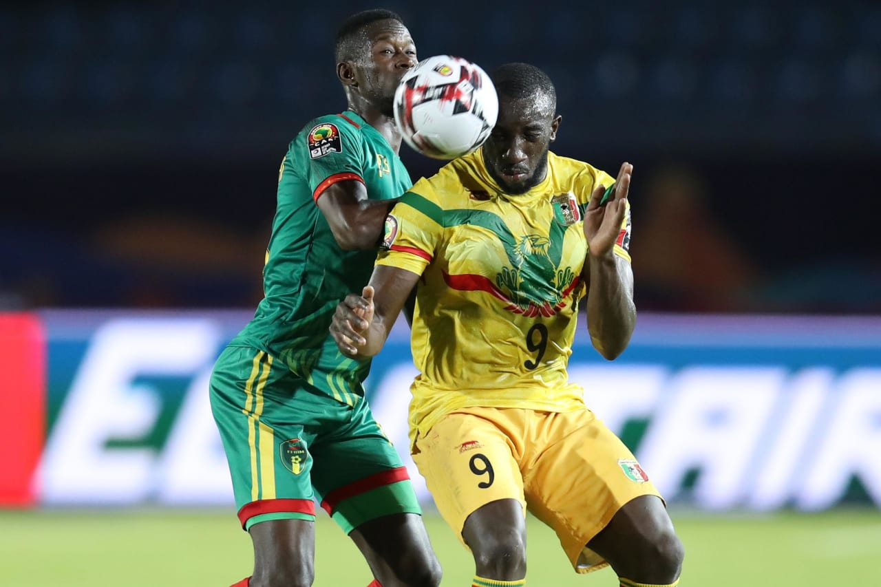 Moussa Marega of Mali challenged by Mohamed Yali Dellahi of Mauritania during the 2019 Africa Cup of Nations Finals football match between Mali and Mauritania at Suez Army Stadium, Suez, Egypt on 24 June 2019 ©Samuel Shivambu/BackpagePix