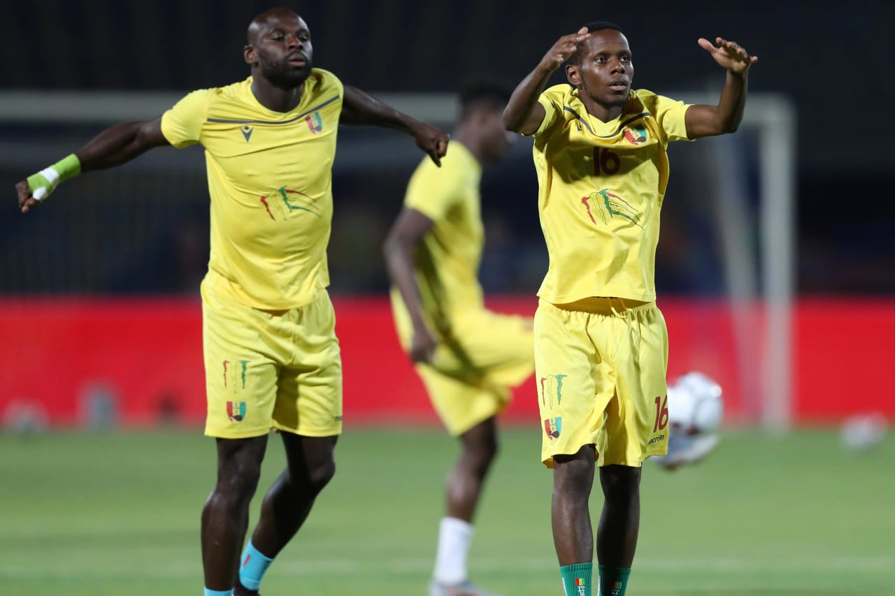 Ibrahima Traoré of Guinea leads a warm up during the 2019 Africa Cup of Nations Finals last 16 match between Algeria and Guinea at 30 June Stadium, Cairo, Egypt on 07 July 2019 ©Samuel Shivambu/BackpagePix