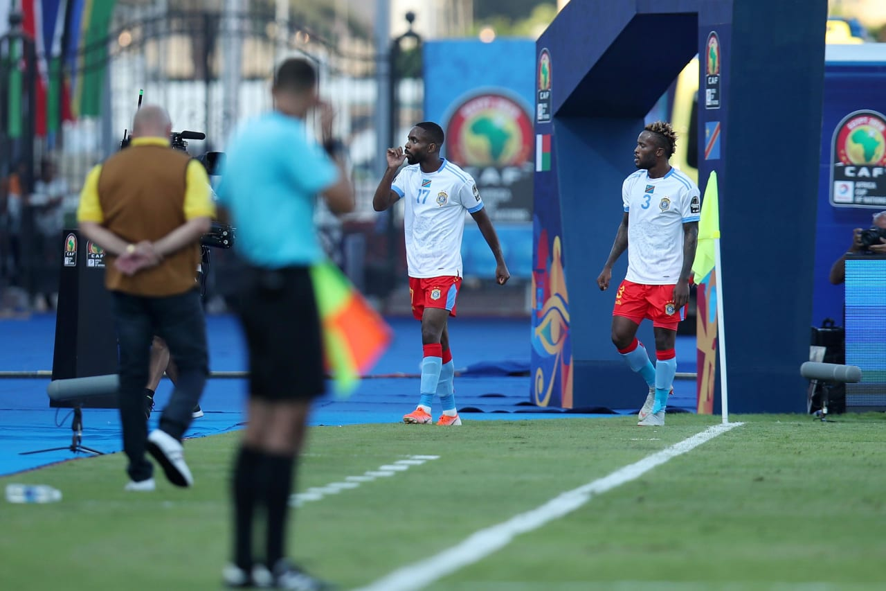 Cedric Bakambu of DR Congo celebrates goal during the 2019 Africa Cup of Nations Last 16 match between Madagascar and DR Congo at the Alexandria Stadium, Alexandria on the 07 July 2019 ©Muzi Ntombela/BackpagePix
