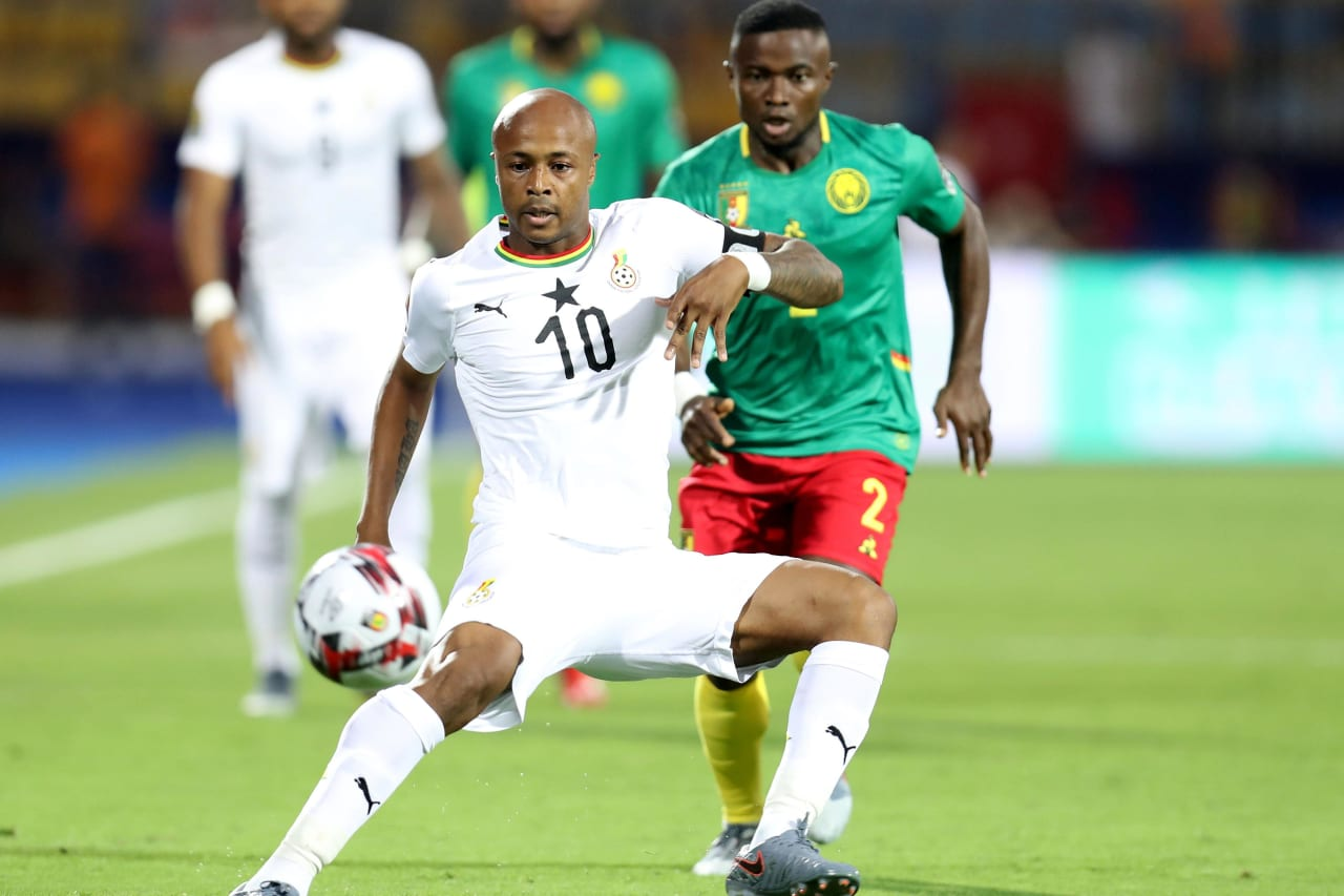 Andre Ayew of Ghana challenged by Ngoran Collins Fai of Cameroon during the 2019 Africa Cup of Nations Finals Cameroon and Ghana at Ismailia Stadium, Ismailia, Egypt on 29 June 2019 ©Samuel Shivambu/BackpagePix