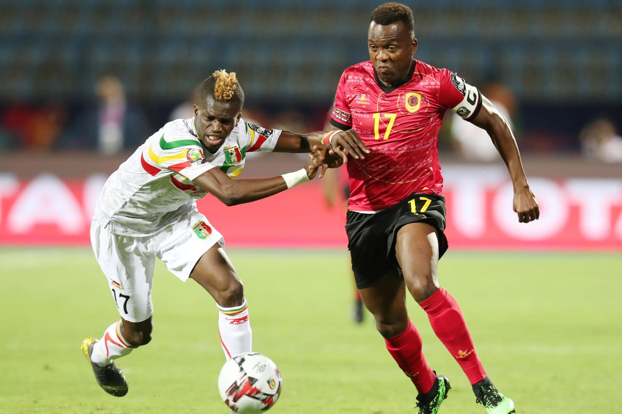 Mateus Galiano of Angola challenged by Falaye Sacko of Mali during the 2019 Africa Cup of Nations match between Angola and Mali at the Ismailia Stadium, Ismailia on the 02 July 2019 ©Muzi Ntombela/BackpagePix